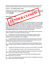 TENDER CLOSED